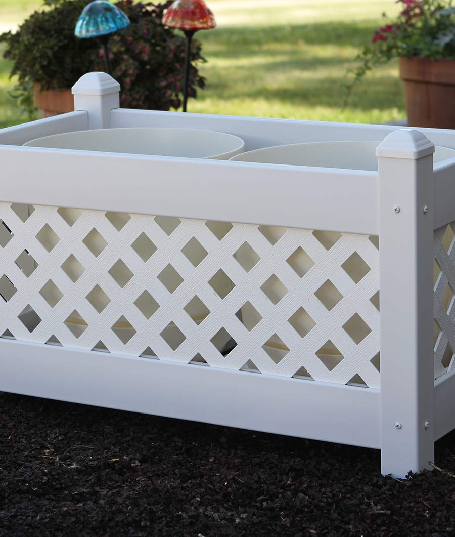 Large Lattice Planter with White Lattice